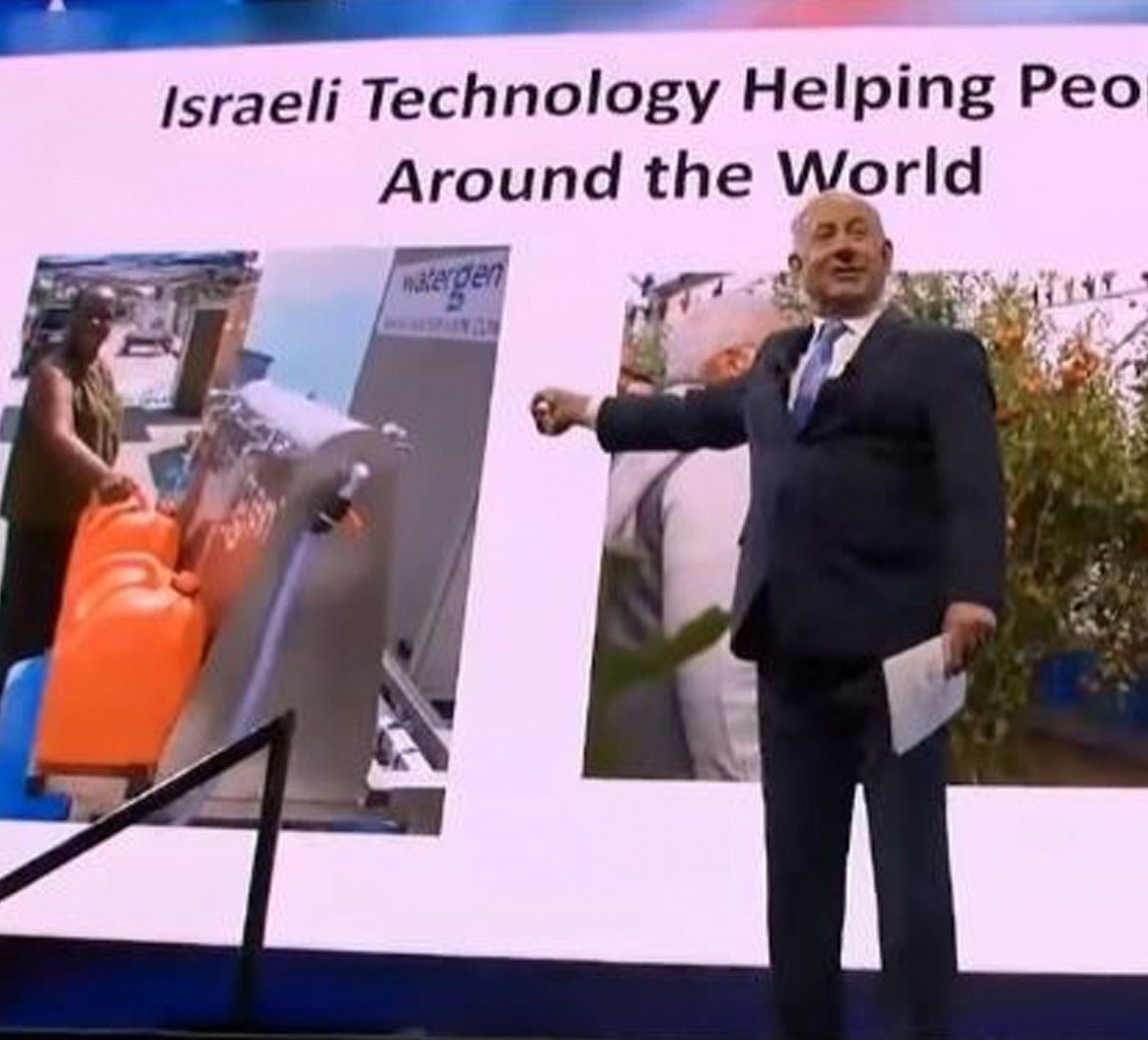 Israeli Prime Minister Benjamin Netanyahu presents Watergen's technology at AIPAC